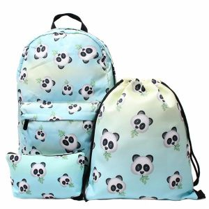 ceccc8bfb6cc 3PCS  set 3D Panda Bamboo Printed Backpack Travel Students Polyester Cute  Women Girl School Shoulder Bag Backpack Purse for Outdoor Sport Teenager  Causal ...
