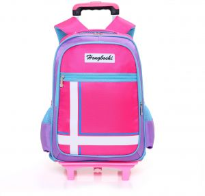 93af1a2f82cb Y D Kids s Trolly Bag Multifunctional Polka Dot Detachable Double Wheel  Solid Color Waterproof School Backpack Pink color
