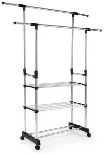 Double Rail Garment Rack, 3 Tier Height Adjustable Stainless Steel Rolling  Clothing Clothes Drying Rack With Expandable Rods For Laundry Room Bedroom