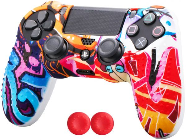 Silicone controller Skin Cover Case & thumb grip cap for