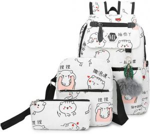 3 Pcs set USB Charging Canvas Backpack Printed School Bags For Teenage Girls  Shoulder Drawstring Bags Travel Students Polyester Cute Women Girl School  ... 78844545387e0