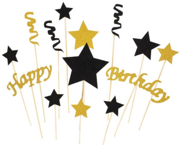 Black And Gold Star Happy Birthday Cupcake Toppers Glitter With Bow Knot