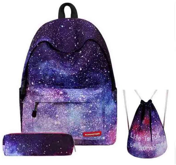 3PCS /set Women Stars Universe Space Backpack School Bags For Teenage Girls  Shoulder Drawstring Bags Travel Students Polyester Cute Women Girl School