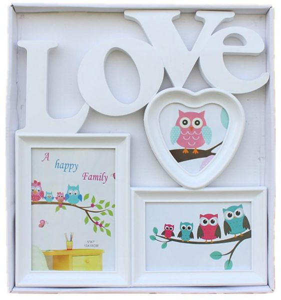 Traditional Oil Rubbed Bronze Love Collage Wall Frame Fits Three