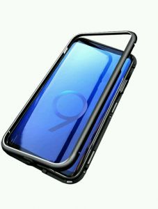 Samsung galaxy s9 plus cover/case, magnet with aluminium metal housing bumper case,99.9 percent crystal clear, 9H tempered glass back case, Clear with black