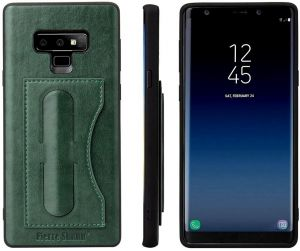 Samsung Galaxy Note 9 Fierre Shann Leather Back Case Cover - Green