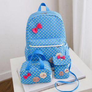 b1d1b20e6946 Y D back to school 3 Pcs Dots and bow Pattern Preppy Style Durable Kids  school Backpack Set blue color