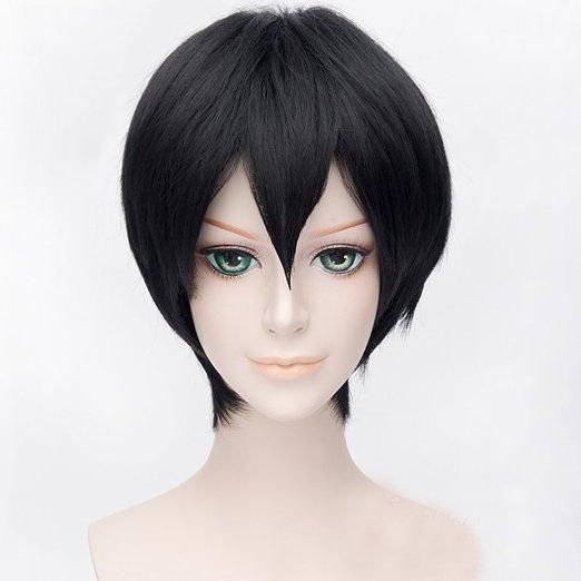 Anime Cosplay Game Character Wig Black Short Hair الامارات سوق