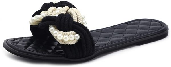 37fa86444fe6 Women s Open Toe Slippers Breathable Beaded Comfy Soles Durable ...