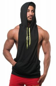 1f860b0a17f60 Mens Sleeveless Workout Hoodie Vest Gym Bodybuilding Lifting Tank Tops for Men  Black XL