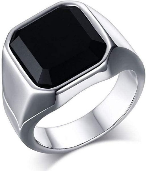 Men Ring Stainless Steel Vintage Classic Black Gemstone Ring for Male