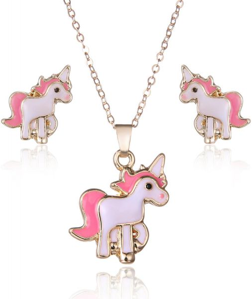 Pink Animal Jewelry Set Chain Kids Jewelry Cartoon Horse Unicorn Necklace Earring Unicorn Sets For Girls Best Gifts