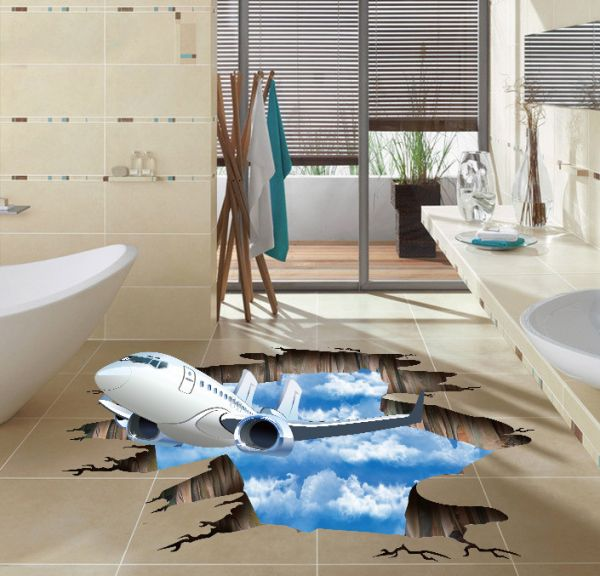 3d blue sky clouds aircraft wall stickers for kids baby rooms poster