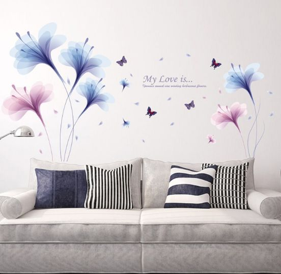 Purple Dream Orchids Flower Wall Stickers Living Room Sofa Tv Wall