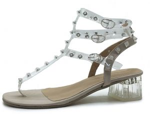 7cfc0a8eb0e081 Women s Gladiator Sandals Transparent Rivets Decor Ankle Strap Buckle  Design Thick Heel Shoes