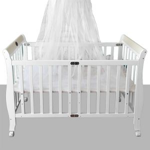 d5cc3d44a baby bed with Wheels made of wood with a white color