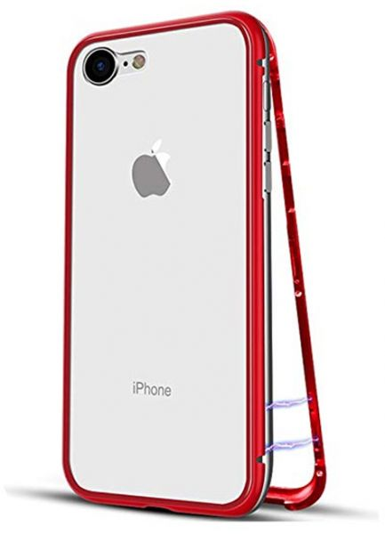 buy popular 86d6e a6e66 Magnetic Apple Case for iPhone 6 Plus iPhone 6s Plus Tempered Glass iPhone  Case Red