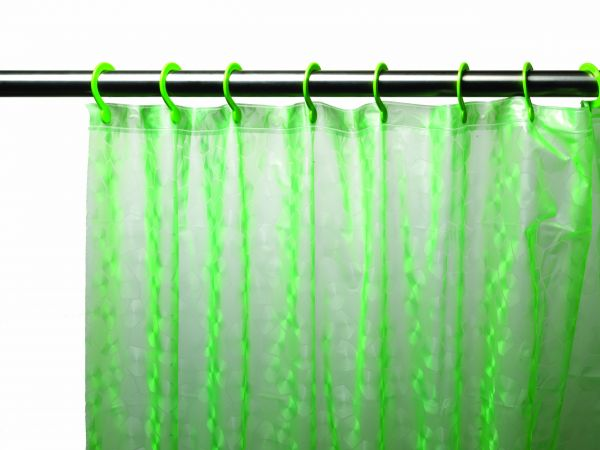 Carnation Home Fashions 3D Prism Look PEVA Shower Curtain With Built In Hooks 70 By 72 Inch Electric Green