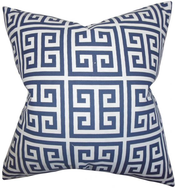 the pillow collection std pp towers premiernavy c100 paros greek key bedding sham navy blue standard20 x 26 - The Pillow Collection