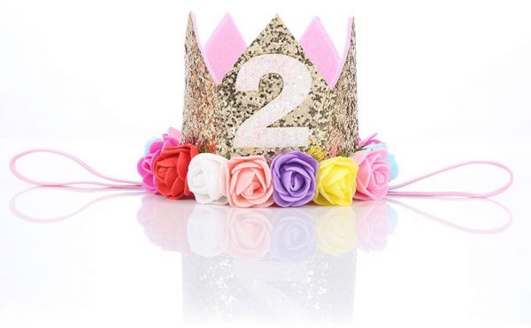 Baby Girl Second Birthday Party Hat Decorations Hairband Princess Queen Crown Lace Hair Band Elastic Head Wear Gifts For Kids