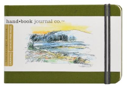 Global Art Materials 721223 3-1/2-Inch by 5-1/2-Inch Drawing Book, Pocket Landscape in Cadmium Green
