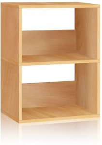Way Basics Eco 2 Shelf Duplex Bookcase And Storage Natural Made From Sustainable Non Toxic ZBoard Paperboard