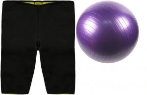 4f428817a267f Hot Slimming Short 5Xl , Black , Mf167-Bla1 with Yoga and Gym Ball, Size 85  cm , Purple , SP71-3