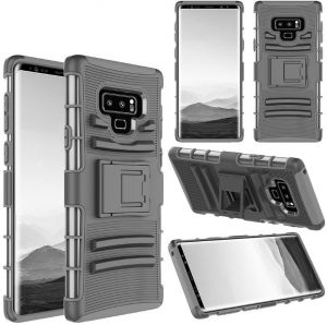 6f36a86ae7bd4 360 degree slide shatter-resistant robot armor phone case Samsung note 9  shell three-in-one bracket phone case for galaxy note 9 case Black