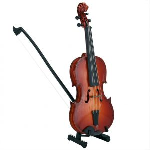 Wooden Mini Violin Model Display Musical Ornament Craft Home Office Decor Birthday Gift