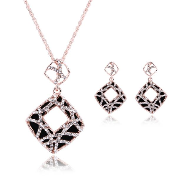Amazing Lovely Girls Geometric Charm Necklace And Earring Sets For Women