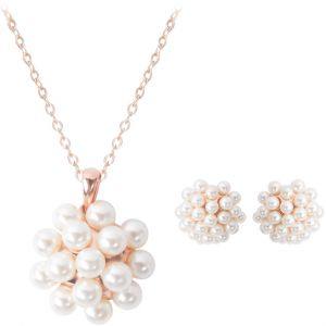 Fashion Jewelry Set Gold Plated Pearl Flower Pendant Necklace And