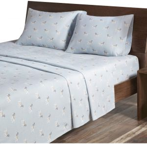 Woolrich Flannel California King Bed Sheets, Casual Lodge/Cabin Bed Sheet,  Blue Dog Bed Sheet Set 4 Piece Include Flat Sheet, Fitted Sheet U0026 2  Pillowcases