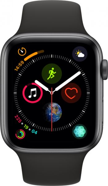 competitive price cc1d8 fcb57 Apple Watch Series 4 - 44mm Space Gray Aluminum Case with Black Sport Band,  GPS, watchOS 5