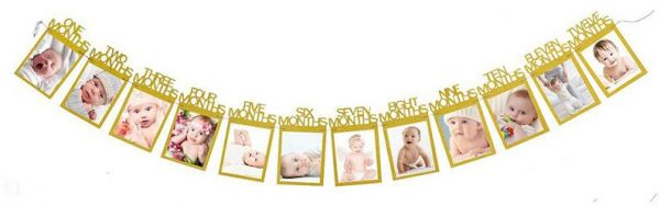 12 Months Photo Frame Banner First Happy Birthday Decorations 1st