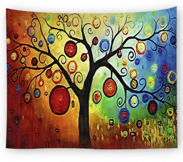 Oil Painting Big Colorful Tree Pattern Home Decoration Tapestry Wall Hanging Art Decorative Tablecloth Beach Towel Yoga Mats Blanket 150X130cm