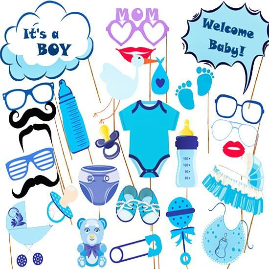 29pcs Baby Shower 2017 New Photo Booth Props Boy Girl Fun Baby