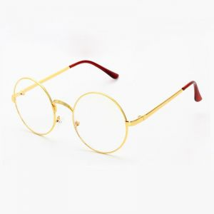 85e18a42a8 Full Metal Frame Retro Round Flat Mirror Glass Frame Glasses Women Mens  Eyeglasses