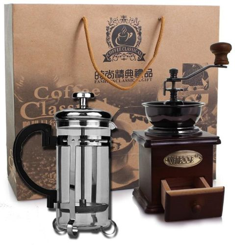 High-grade hand-made coffee grinder silver pressing kettle grinder coffee  apparatus filter cup coffee kettle gift box set gift gift