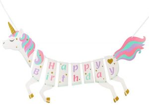 b4d070c58b2b Birthday Party Decorations for Girl Unicorn Themed Party Supplies Favors  Happy Banner Pink White Rainbow Unicorn Ribbons Party Banners