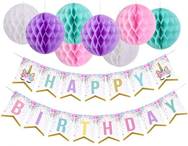 Unicorn Happy Birthday Banner With Pom Balls Themed Party Decorations For Girls Supplies