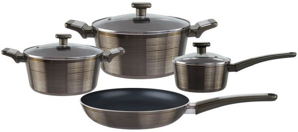 SAVAJO 7-Piece Aluminium Non Stick Cookware Set Cooking set Black,SVJNSCS07