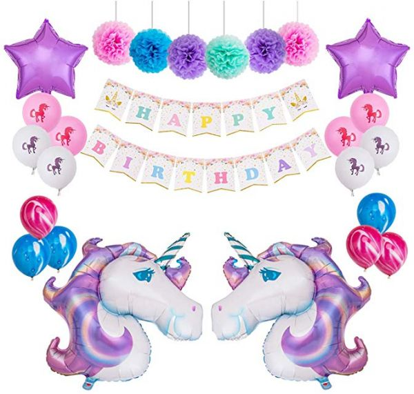 Unicorn Balloons Decorations Themed Birthday Party Kit 1 Pcs Happy Bunting Banner 6 12 Paper Pom Poms 2 40