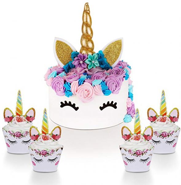 Unicorn Party Decorations Kit For Girls Cake Topper With Eyelashes And Cupcake Toppers Wrappers Set