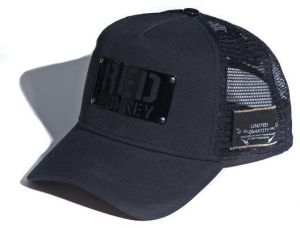 46b8a15a48ca2 Red Monkey Black Trucker snapback hat with mesh back For Unisex