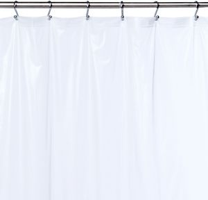 White PVC-FREE MOLD /& MILDEW RESISTANT InterDesign Doodle Stripe Decorative PEVA 3G Shower Curtain Liner Stall 54 x 78 ODORLESS No Chemical Smell
