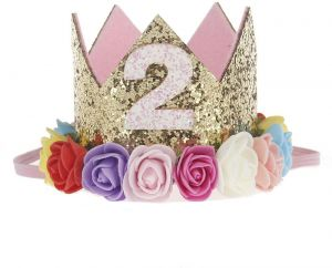 2st Baby Girl Birthday Party Hat Gold Crown Princess Tiara Girls Kids First Sparkle Flower Style With Artificial Rose