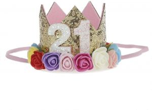 21st Baby Girl Birthday Party Hat Gold Crown Princess Tiara Girls Kids First Sparkle Flower Style With Artificial Rose