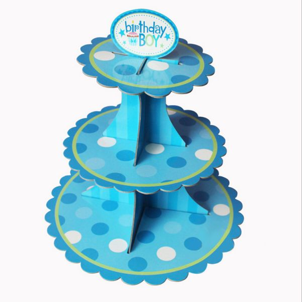 Blue Polka Dots Pattern Happy Birthday Party Paper Tray Cake Stand Wedding Dessert Festival Table Shelf Decoration Baby Supplies
