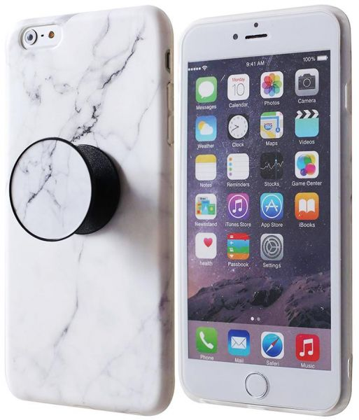 new arrival d43ff 5138a Marble mobile phone cover with pop socket For iphone6/6s - White