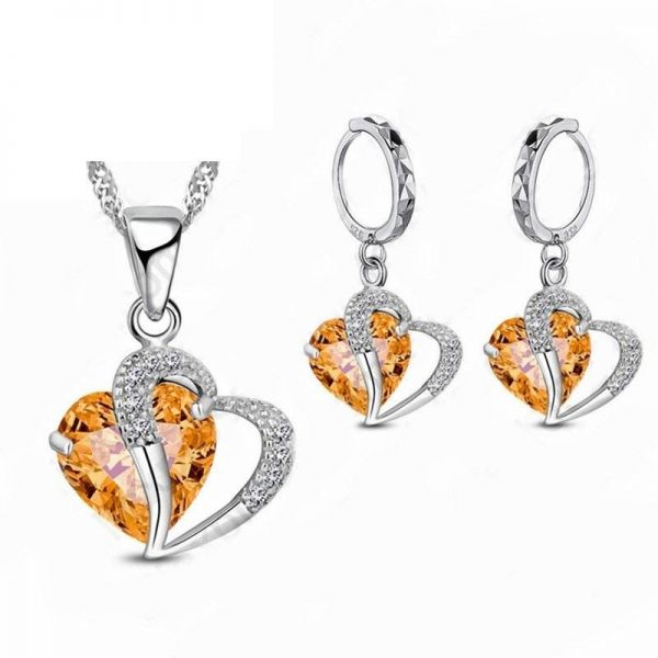 Swarovski Elements 18k White Gold Plated Red Heart Necklace And Earrings Set Gift For Women Las S41621gold